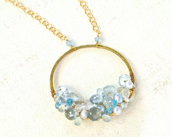 Aquamarine Talisman Necklace - organic aquamarine woven gemstone cluster necklace, gold aquamarine statement necklace