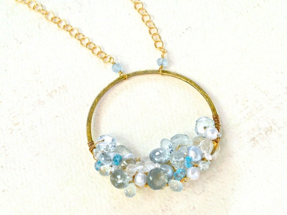 Aquamarine Talisman Necklace - organic aquamarine woven gemstone cluster necklace, gold aquamarine statement necklace