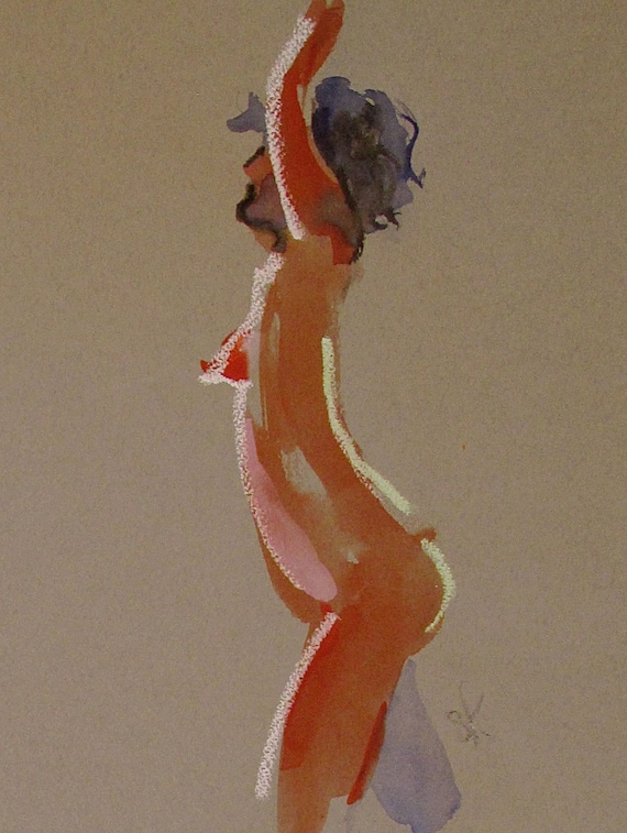 Nude painting -One minute pose 91.6 Original watercolor painting by Gretchen Kelly