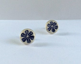 Earrings, Delft Blue and White Ceramic and Silver Plated Studs