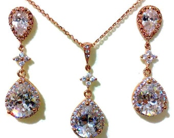 Rose Gold Bridal Jewelry Set, Teardrop Wedding Earrings, Pear Cz Bridal Necklace, Dangle Bridal Earrings, Wedding Jewelry Gift for Her PIXIE