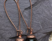 Copper  and Black Drop Earrings