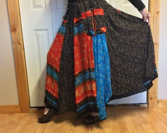 PREVIEW Plus Size Long Maxi Skirt with Pockets/Batik Crinkle Skirt/Boho Gypsy/Summer/Upcycled Recycled Repurposed/Adjusts Size 2X, 3X, 4X