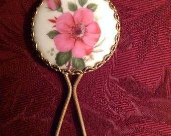 Vintage--Signed--Limoges--Small Hand--MIRROR--Pink Rugosa ROSE And Rosebud--Porcelain