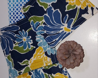 Fabric Coasters, set of four, reversible, Blue, yellow, floral, cotton
