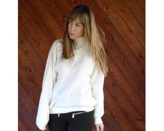 White Nylon Panel High Neck Sweatshirt - Vintage 80s - S/M