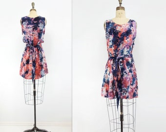 Boho Tie Dye Dress Vintage Hippie Tunic Indigo Coral Dress 90s Boho Mini Dress Vintage Tank Dress Navy Blue Peach Mini Tank Dress xs