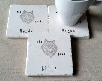 She Wolf Pack Coasters - Personalized Absorbent Tile Coasters - Bachelorette Keepsake - Wedding Party Gifts