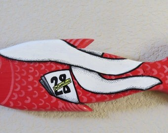 28 Pages Red Herring Recycled Wood Art Fish Wall Hanging 9/11 Commission Report Declassified