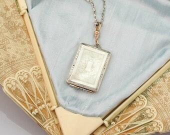Antique 1920s Locket | Antique Art Deco Locket | Large Antique Locket | Two Tone Gold Locket