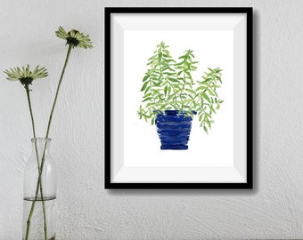 Art print Lemon verbena, Lemon verbena plant watercolor, herb art, kitchen decor, mothers day, minimalist art, herb art print, kitchen art