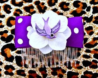 Rockabilly Purple Swallow & White Hydrangea Dot Hair Comb - Retro - 50s