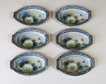 Vintage Porcelain Salt Cellars Tea Bag Holders Hand Painted Water Lily Boho Asian Decor Blue Green Moriage Gold Trim Set of 6