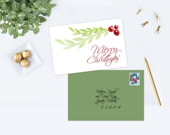 DIY Editable Christmas Card ~ MS Word Template Xmas Card, Laurel and Berries Watercolor Holiday Greeting, Company Holiday Card, Trendy Card
