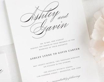 Timeless Script Wedding Invitations - Deposit