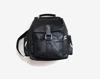 SALE Vintage Leather Backpack / Black Leather Backpack / Large Drawstring Backpack / Leather Rucksack
