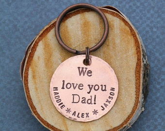 SALE • Personalized Dad Keychain • Custom Copper Keychain • Custom Daddy Gift • Grandpa Gift • Grandfather Gift • Papa Gift