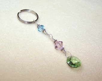 Crystal Keychain Soft Pastel Beaded Key Chain Bling Silver Keyring for Mom Small Presents for Women Pink, Blue and Green Purse Accessory