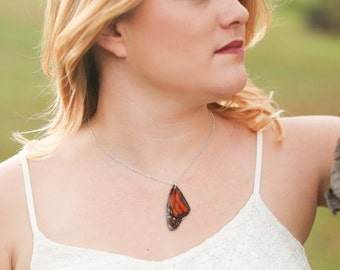 Monarch Butterfly Wing Necklace, Orange Butterfly Wing, Monarch, Real Wings