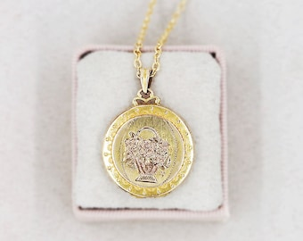 Gold Locket Necklace, 12K Gold Filled Round Vintage Pendant with Filigree Top - Floral Basket
