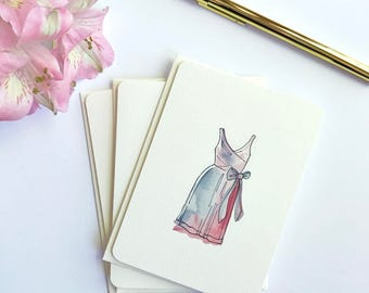 Bridesmaid Thank You Cards - Purple Dress - To My Bridesmaid - Thank you bridesmaid set - Bridal Party Cards - Thank You Notes