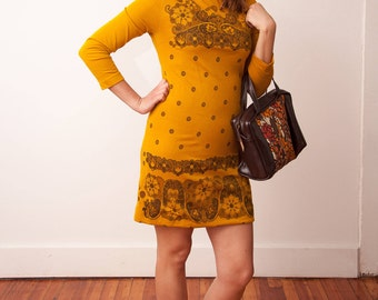 Vintage Mustard Yellow Dress with Brown Floral Pattern - Vtg 60s Dress - Retro Fashion - Size Small Medium - Gift for Her