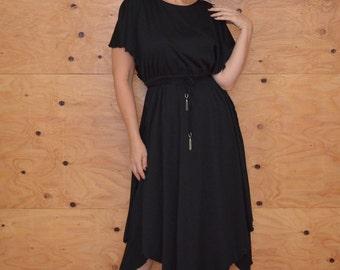 Vintage 70's Black Disco Dress Hanky Hem Flutter Sleeves SZ M
