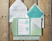 Beach Wedding Invitations SAMPLE SET - Tropical destination wedding invitation suite, Luxury pocket wedding invitation, Palm Tree PBW019-S