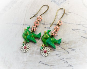 For the Love of Spring, Vintage Patina Brass Birds and Pink Enamel Flower & Rhinestone Assemblage Earrings, Hollywood Hillbilly