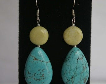 Earrings Turquoise teardrop Large Silver Plated dangle stone big green lime blue