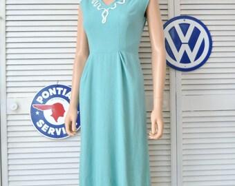 Vintage 60s Womens Wiggle Dress/Bodycon Rhinestone & ric-rac trim @ Neckline/Sleeveless Teal Blue-Green/Small as is Costume Distressed 0 2