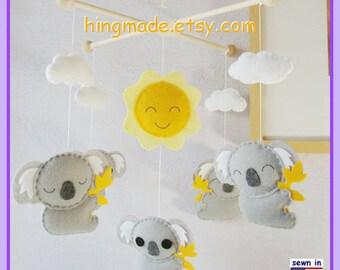 Baby Crib Mobile, Koala Mobile, Nursery Mobile, Modern Mobile, Australian Animals, Gray Koalas and Yellow Sun,Custom Mobile