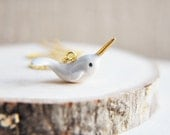 Narwhal Necklace, Baby Narwhal Necklace, Unicorn Of the Sea, Ocean Necklace, Whale Necklace, Porcelain Necklace, Animal Necklace, Gold Horn