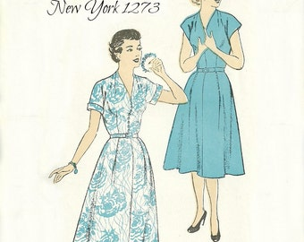 V Neck Belted Dress Pattern Bust 37 Unused New York 1273 Womens Size 18