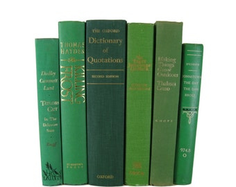 Green Decorative Books , Green Vintage Books , Home Decor , Old Books , Vintage Photo Props , Table Setting , Wedding Decor