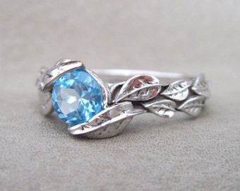 Leaf Ring, Blue Topaz Leaf Engagement Ring In White Gold, Engagement Ring With Blue Topaz, Leaves Ring, Forest Ring, Natural Floral Ring
