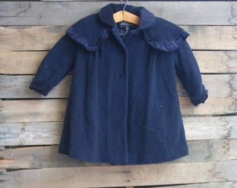 Vintage Navy Blue Wool Coat by Rothschild Size 24 Months
