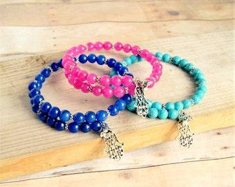 beaded bracelet, mala bracelet, yoga, hamsa, charm bracelet, gift for her, under 20
