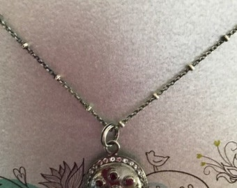 Ruby and White Topaz Sterling Silver Necklace