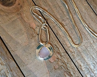 Genuine SEA GLASS Necklace Amethyst Fine Silver Argentium Sterling Silver Jewelry