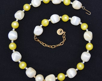 Vintage Single Strand Necklace with Cream Plastic Beads and Yellow Moonglow Beads by Coro