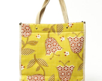 Vintage Mod Flower Tote | Nylon Handbag | Ladies Purse Shopper Yellow Farmers Market Bag Zipper Pocket 1960s 70s Mod Floral Diaper Bag 15I