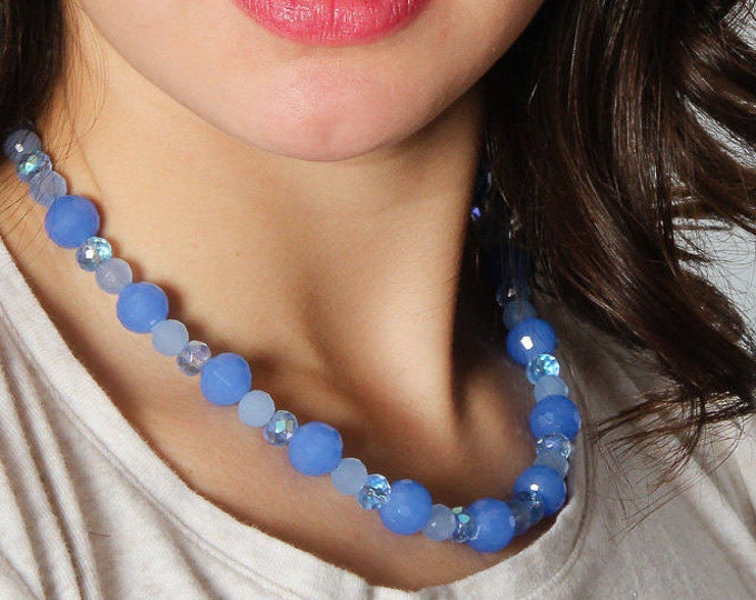 """Blue Necklace Handcrafted Beaded Necklace 17"""" inch Periwinkle Metallic Iridescent Geo Pattern   5C"""