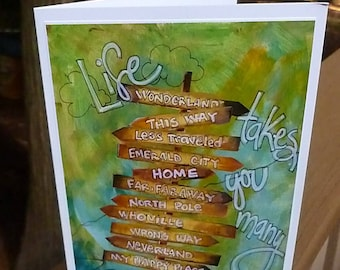 LIFE DIRECTIONS, Graduation Card, Travel Card, Mixed Media Art Card, Adventure Card, Sign Post, Travel Gift  by Seattle Artist Mary Klump