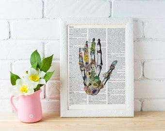Summer Sale Human anatomy Hands, Minerals and stones Hands. Anatomy art dictionary page Love gift -Anatomy art, Wall art  SKA129