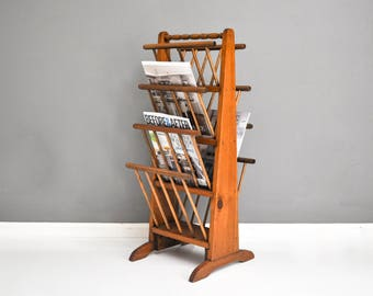 Vintage Tall Wooden Spindle Magazine Rack