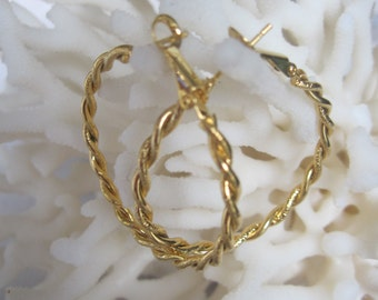 Twisted Double Rope High Polish n Brushed Gold Hoop Earrings