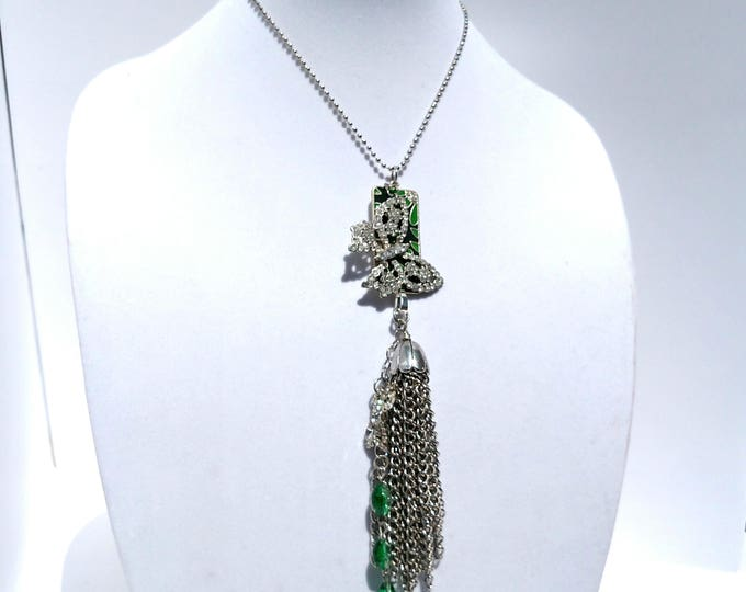 Tassel Necklace with Vintage Rhinestone Butterfly and Green Enamel Pendant