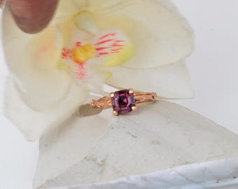 Asscher Cut Purple Spinel Twig Ring, 14k Rose Gold Gemstone Ring, One of a Kind Gemstone Ring