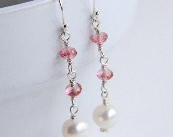 Pink topaz and white freshwater pearl earrings, sterling silver wire wrapped jewelry, gifts for her